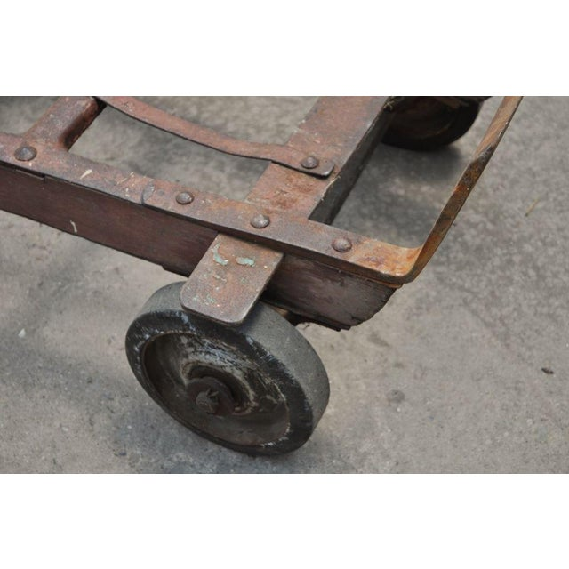 Antique Industrial Steampunk Distressed Iron & Wood Hand Truck Cart Coffee Table For Sale In Philadelphia - Image 6 of 11
