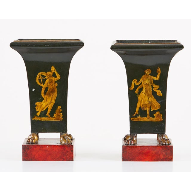 Neoclassical French Neoclassical Directoire Style Tole Vases - a Pair For Sale - Image 3 of 13