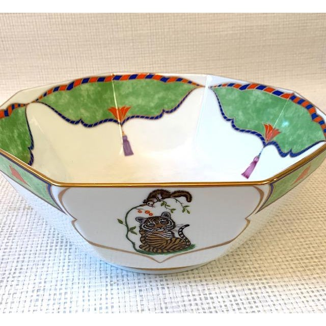Late 20th Century Vintage Lynn Chase Tiger Raj Octagonal Bowl For Sale In New York - Image 6 of 10