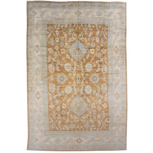 Aara Rugs Inc. Hand Knotted Fine Oushak Rug - 12′8″ × 15′10″ For Sale