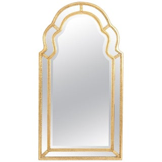 Mid-20th Century Giltwood Frame Beveled Hanging Wall Mirror For Sale