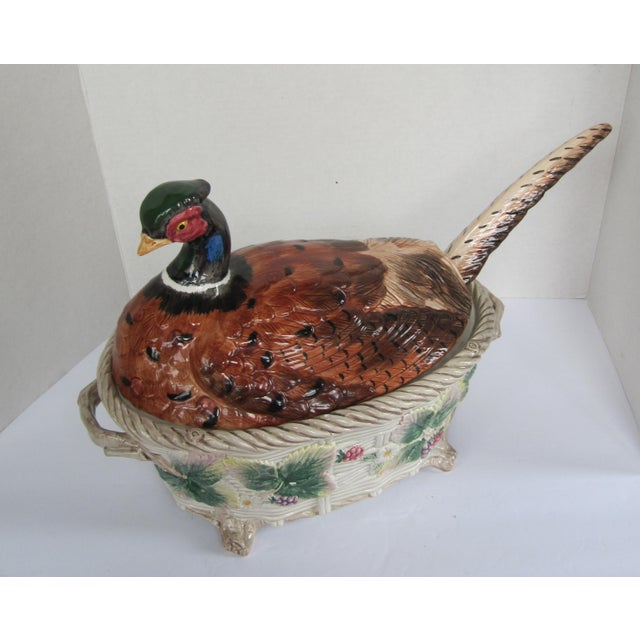 English Vintage Pheasant Tureen & Lid W/Ladle by Fitz & Floyd For Sale - Image 3 of 9