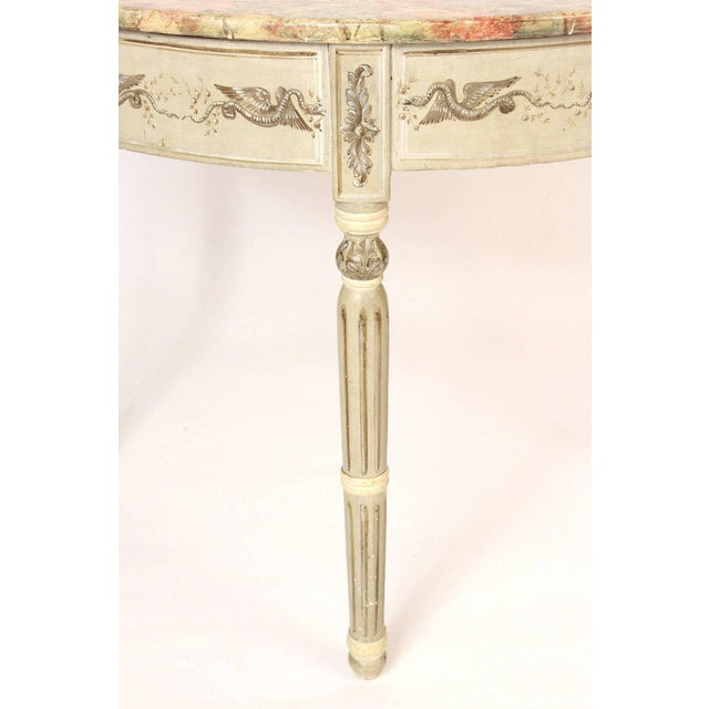Louis Philippe Painted Demilune Console Table For Sale - Image 4 of 10