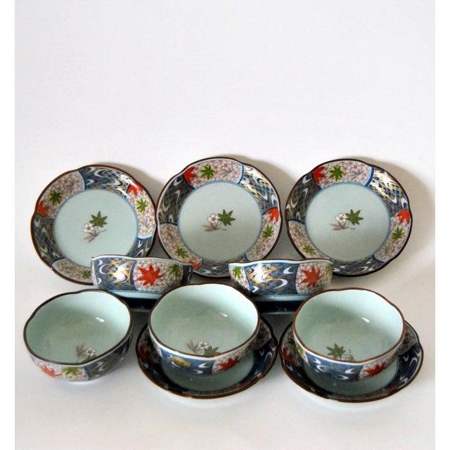 Vintage Cherry Blossom Shaped Celadon Arita Imari Cups, Saucers & Box - Set of 10 For Sale In Salt Lake City - Image 6 of 9