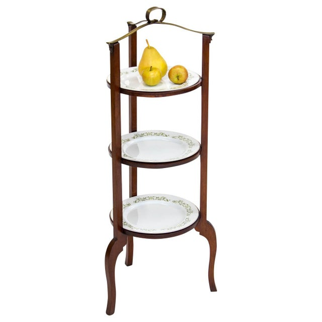 3-Tier Serving Stand W Brass Handle For Sale - Image 10 of 11