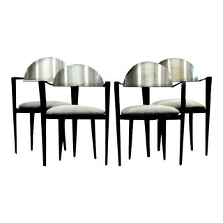 Pietro Constantini Style Minimalist Brushed Silver & Black Metal Dining Chairs - S/4 For Sale