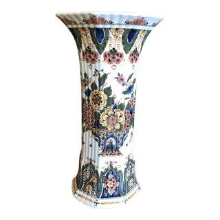 Royal Delft Octagonal Floral Vase For Sale