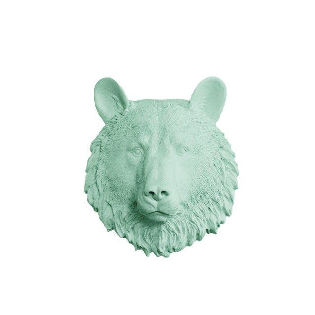 Wall Charmers Faux Mint Green Mini Bear Head Wall Sculpture - Image 3 of 3