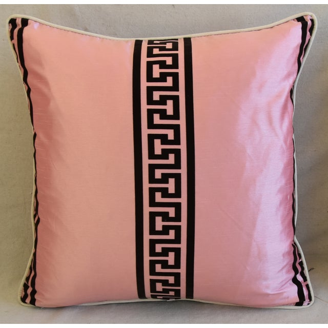 "Abstract Pink Dupioni Satin Silk Greek Key Feather/Down Pillows 23"" Square - Pair For Sale - Image 3 of 13"