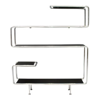 Large Steel Tube Shelf Sideboard Etagere in Chrome and Black For Sale