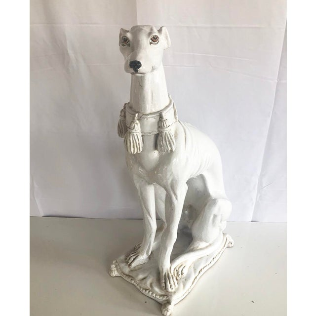 Fine hand painted signed & stamped Whippet dog figure- life size like. Made out of heavy terracotta - hand painted with an...