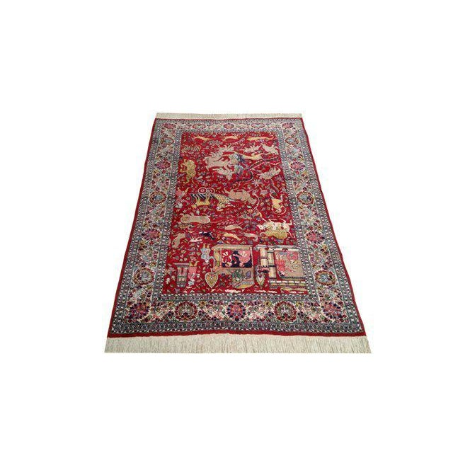 Vintage Scenery Hand Made Knotted Rug - 4′8″ × 7′5″ - Size Cat. 4x6 5x7 - Image 2 of 3