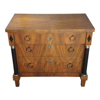 1960s Baker Furniture French Empire Style Walnut 3 Drawer Chest Commode For Sale
