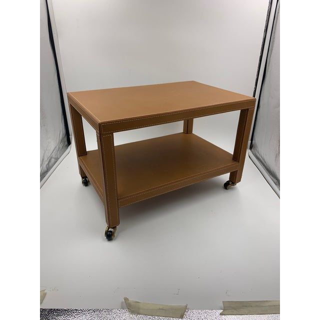 Two Tier Dimuntive Leather Trolley on Casters For Sale - Image 10 of 10