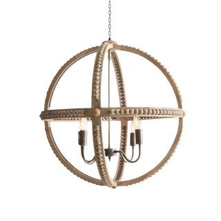 Wood & Metal Jax Chandelier For Sale