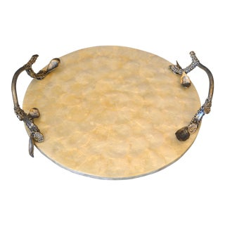 Modern Round Capiz Shell and Pewter Branch Handles Decorative Serving Tray For Sale