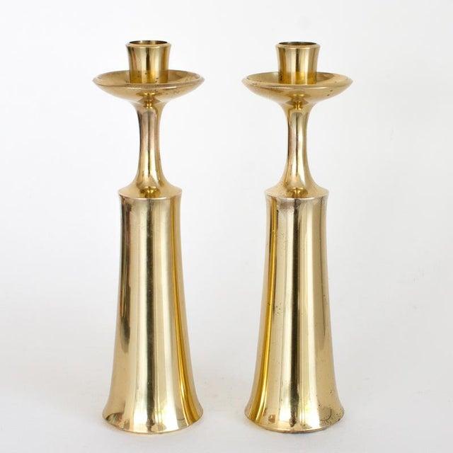 Jens Quistgaard Jens Quistgaard for Dansk Brass Candleholders (Set of Two) For Sale - Image 4 of 4