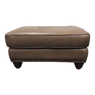 Traditional Brown Leatherette and Nailhead Trim Mahogany Ottoman For Sale