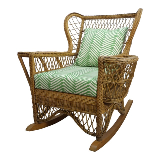 Vintage Henri Link Wicker Rocking Chair With Magazine Rack For Sale