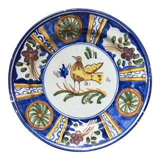"Antique Persian Faience Charger-13"" For Sale"