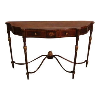 Maitland Smith Mahogany Inlaid Wall Console Table For Sale