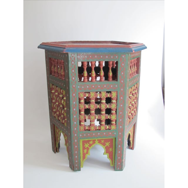 Green Moroccan Green & Red Carved Wood Side Table For Sale - Image 8 of 9