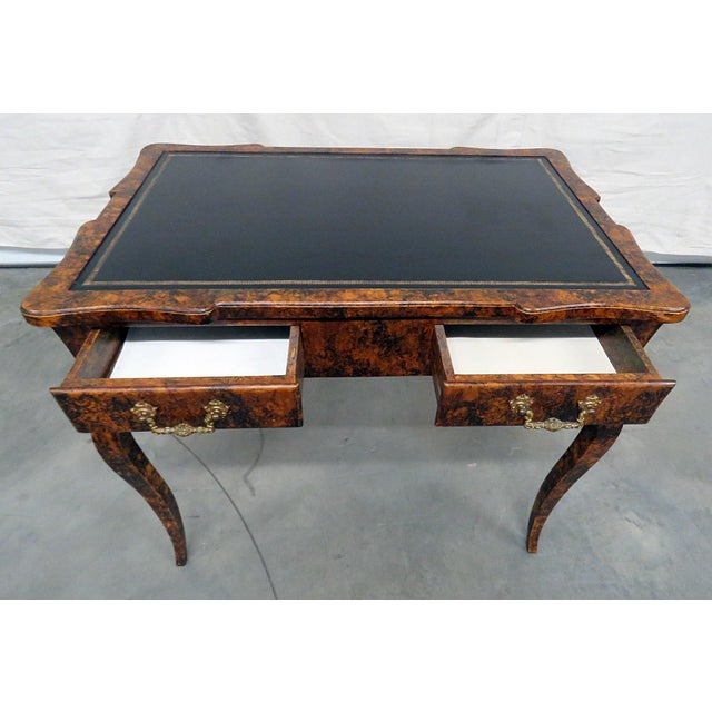 Hollywood Regency Directoire Style Leather Top Writing Desk For Sale - Image 3 of 9