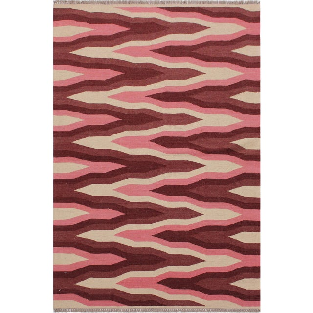 Contemporary Kilim Sallee Red Hand-Woven Wool Rug -3′3″ × 5′ For Sale