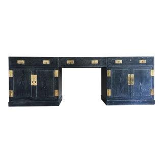 Sensational Cerused Oak and Brass Credenza or Desk by Henredon For Sale