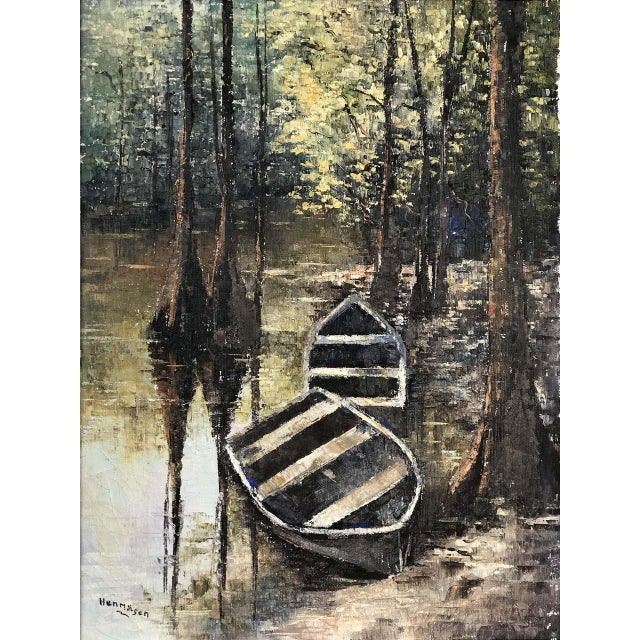 Offered for sale is a vintage oil painting on canvas of the Everglades signed Hermansen. The delicately painting subject...