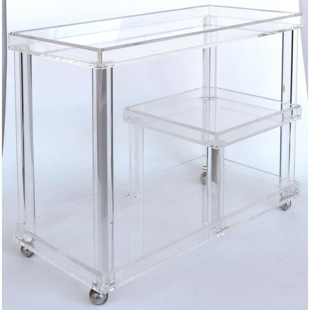 Rolling Lucite Bar Cart W/ 3 Levels of Storage For Sale - Image 12 of 12
