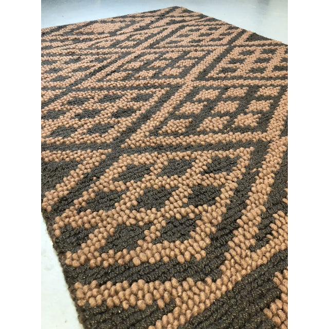 Brown Heavy Knit Brown and Tan Geometric Rug For Sale - Image 8 of 13