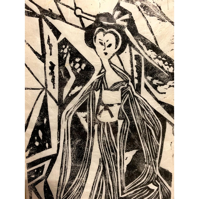 Folk Art Mid Century Geisha Print Signed, Donna For Sale - Image 3 of 9