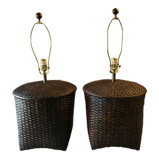 Vintage Basket Lamps, a Pair For Sale