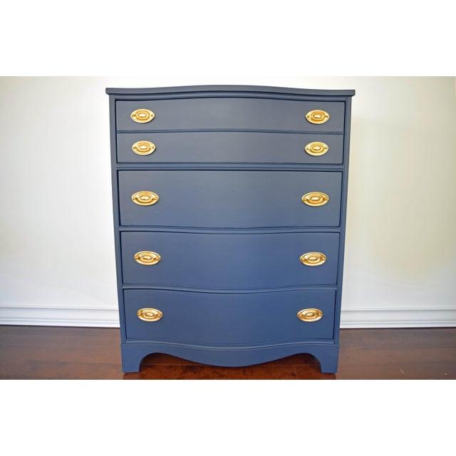 Bassett Serpentine Flat Navy-Blue and Gold Highboy Dresser - Image 2 of 11