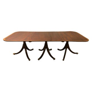 Mahogany Satinwood Banded Georgian Style Triple Pedestal Dining Table For Sale