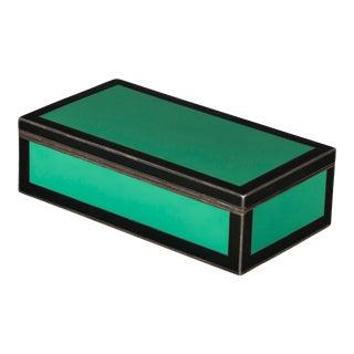 Art Deco Silver Green & Black Enamel Rectangular Box For Sale