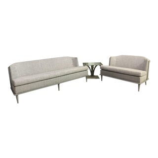 Modern Global Views Gray Washed Sofa & Loveseat For Sale