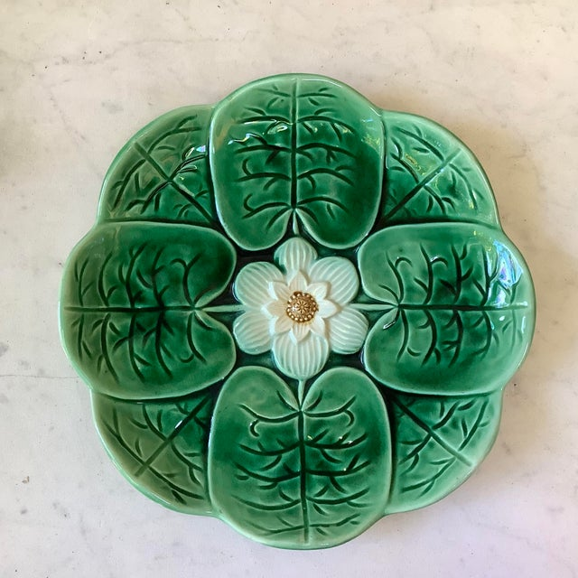 1880 English Majolica Water Lily Plate For Sale In Austin - Image 6 of 6