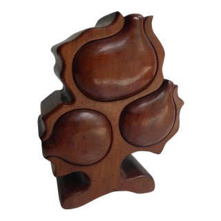 """Three Drawer Artisan-Made Solid Mahogany """"Mystery"""" Box C. 1970s For Sale"""