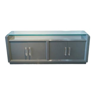 1970s Karl Springer Style Grey Lacquered Credenza For Sale