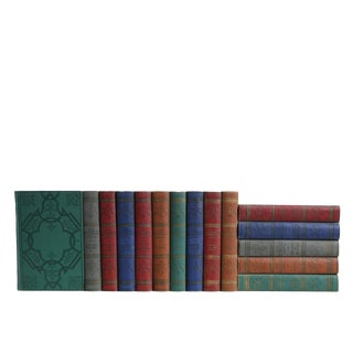 Vintage Jewel Toned Embossed World Knowledge Book Set, S/15 For Sale