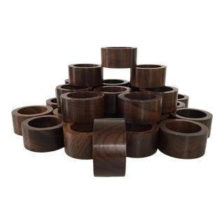 1970s Dark Wooden Napkin Rings - Set of 33 For Sale
