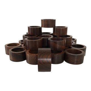 1990's Dark & Smooth Wooden Napkin Rings - Set of 33 For Sale