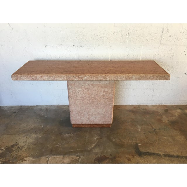 Vintage Pink Italian Marble Modernist Console Table - Image 2 of 9