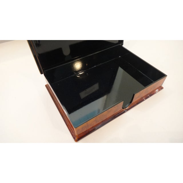 Faux Tortoise Shell Lacquer Desk Box - Image 3 of 10