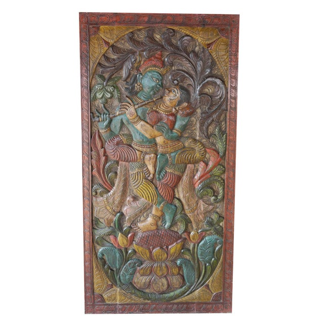 1990s Vintage Hand Carved Krishna Radha Fluting Standing on Lotus Indian Wall Hanging Barn Door For Sale - Image 5 of 5