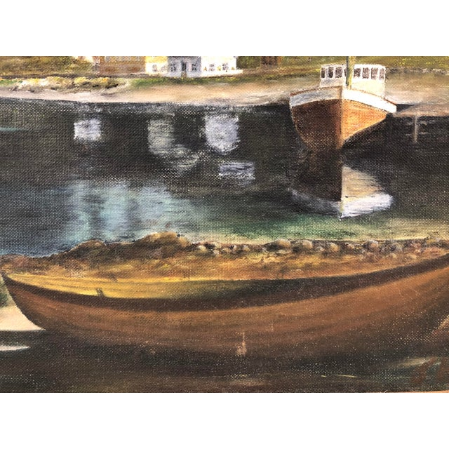 Modern Framed Oil on Board ofSeaside Village With Boats, Signed Jh For Sale - Image 3 of 11