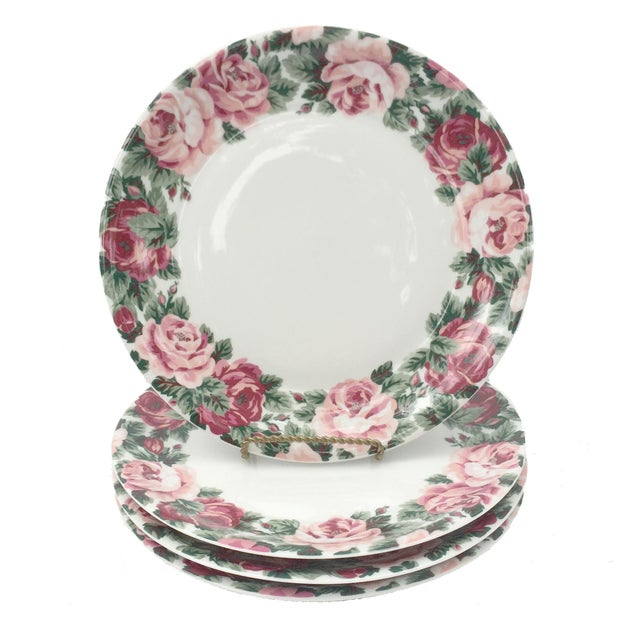 Vintage Rose Garden Dinner Plates by Block Spal - Set of 4 For Sale - Image 10 of 10