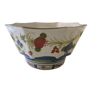 Italian Hand-Painted Centerpiece Bowl For Sale